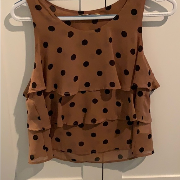 Lush Tops - Brown with black polka dot layered top